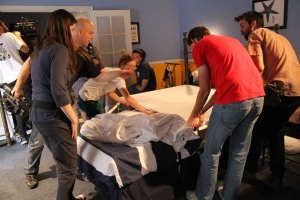 Displacement crew perfecting the set for the next shot.
